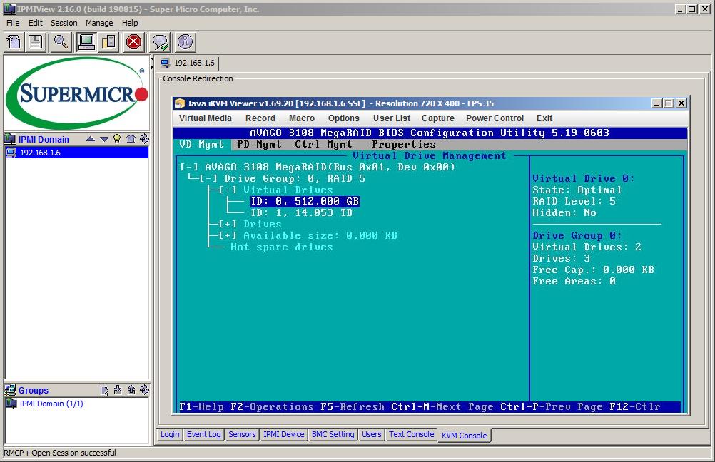 iKVM утилиты IPMIView предоставляет доступ к PCI BIOS контроллера Avago 3108 ранее, чем к установкам CMOS Setup системного UEFI BIOS