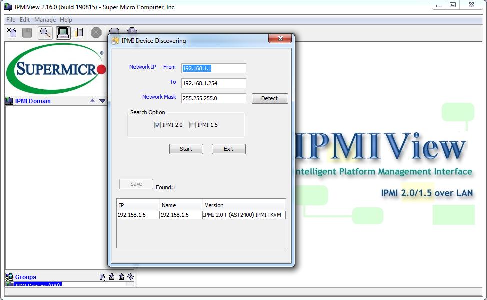 Утилита IPMIView предлагает опцию IPMI Device Discovering для поиска и автоматического определения IP-адреса удаленной платформы