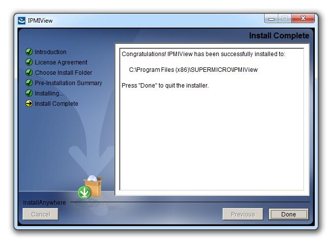 Установка IPMIView успешно завершена —можно приступать к работе