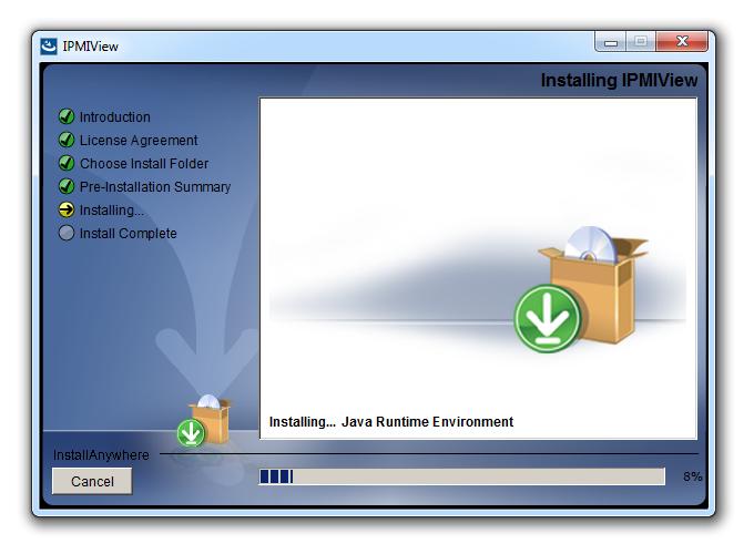 Даже если до установки IPMIView в системе не было среды Java Runtime Environment, инсталляторInstallAnywhere позаботится о ней