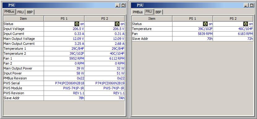 Данные от основного и запасного блоков питания поступают в систему мониторинга по PMBus