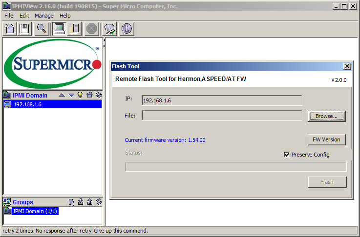 В отличие от браузерной версии iKVM, утилита IPMIView ограничивает пользователя только обновлением микрокода BMC